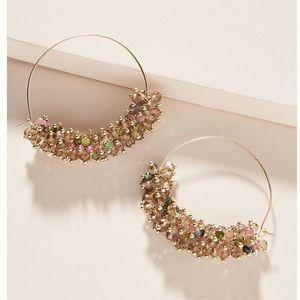 Anthro Sybil Hoop Earrings - Pink
